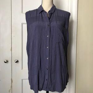 💜 Muted Purple Sleeveless Button Down